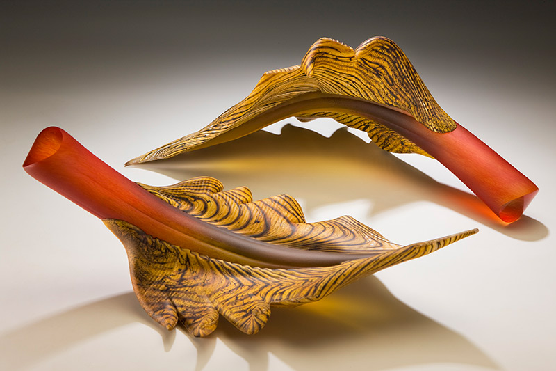 Art glass sculptural arbor leaf pair in ruby and topaz color