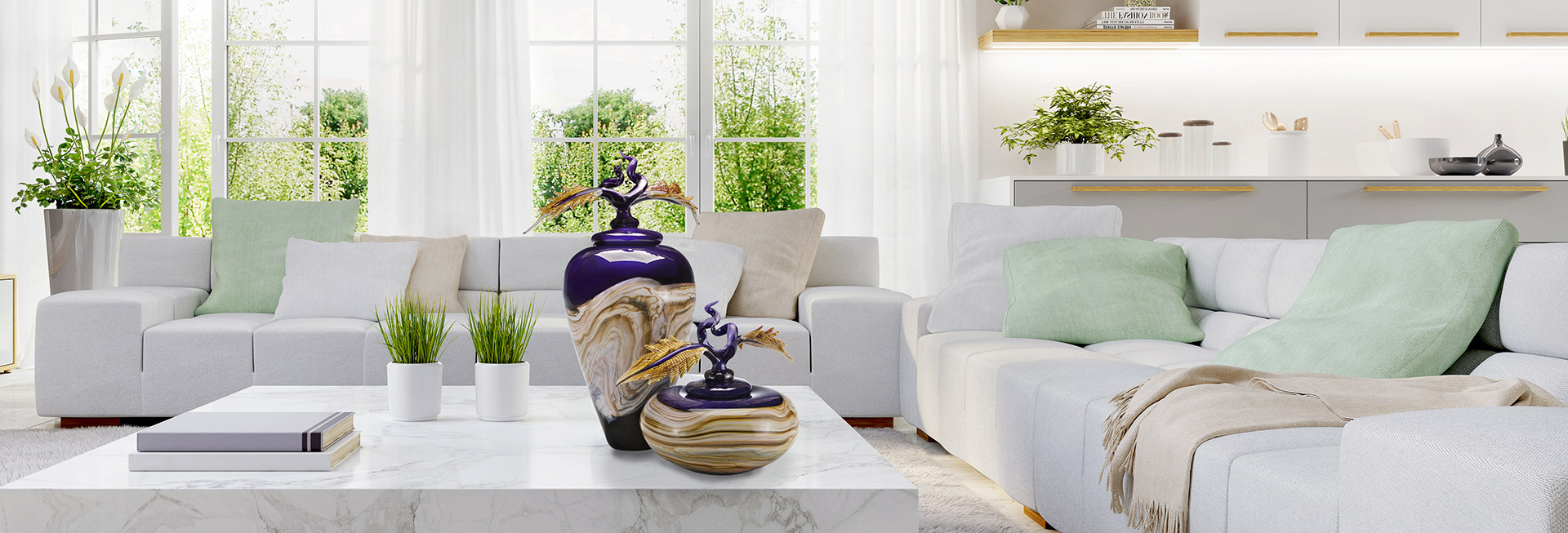 Hand blown glass vases shown in living room