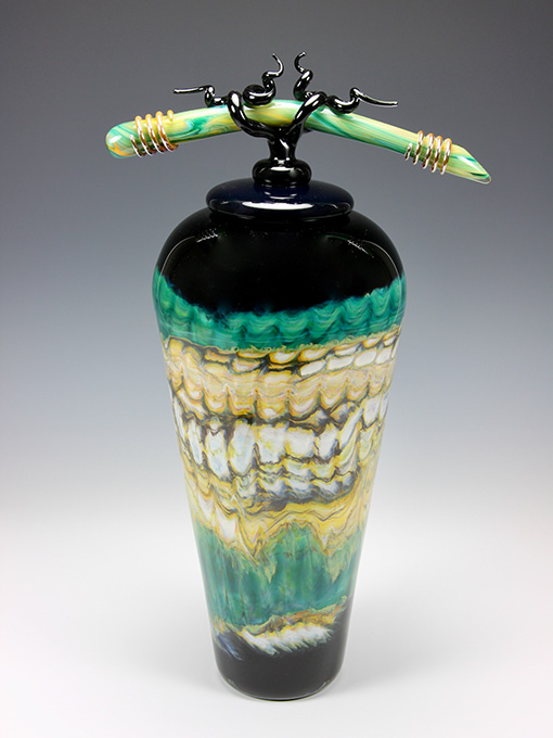 Handblown lidded glass vase from Opal series