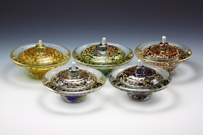 Glass Saturn oil lamps group