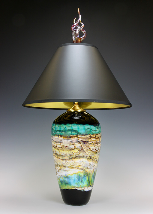 Turquoise glass table lamp with black shade