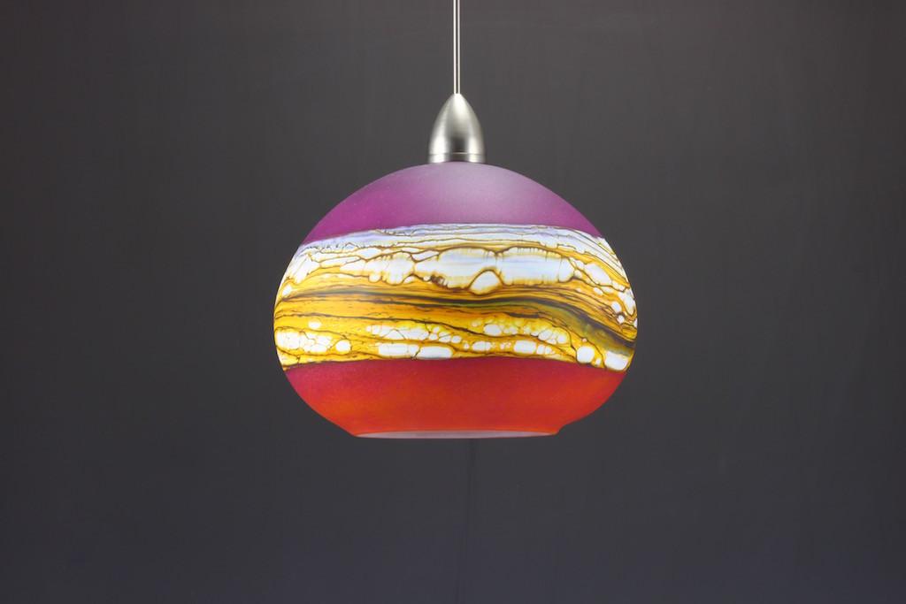 Ruby & Tangerine Round Strata Pendant (Off)