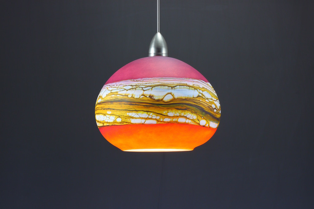 Ruby & Tangerine Round Strata Pendant (On)