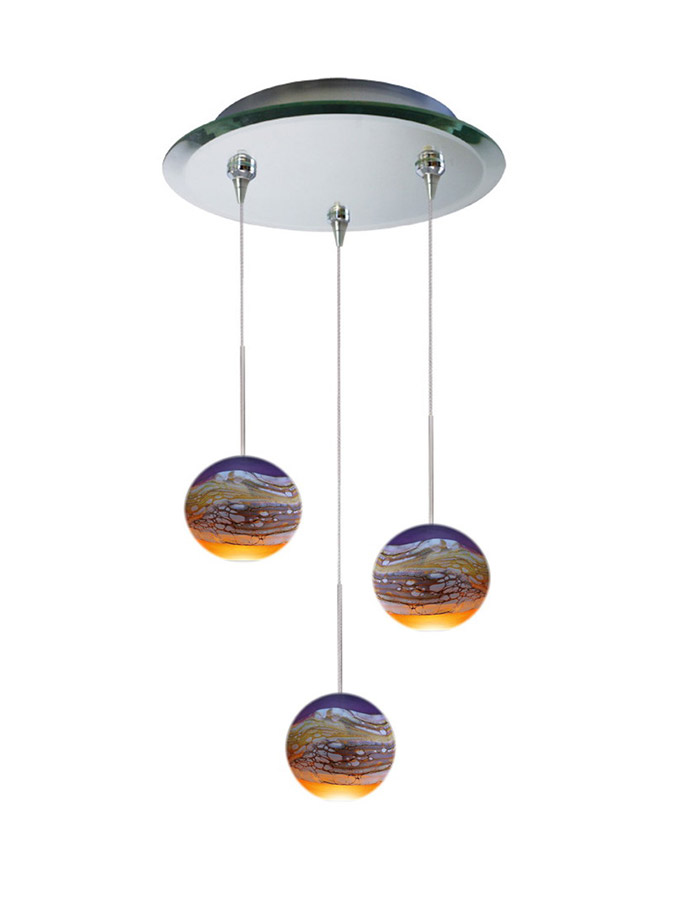 Three glass pendant chandelier multi-point canopy