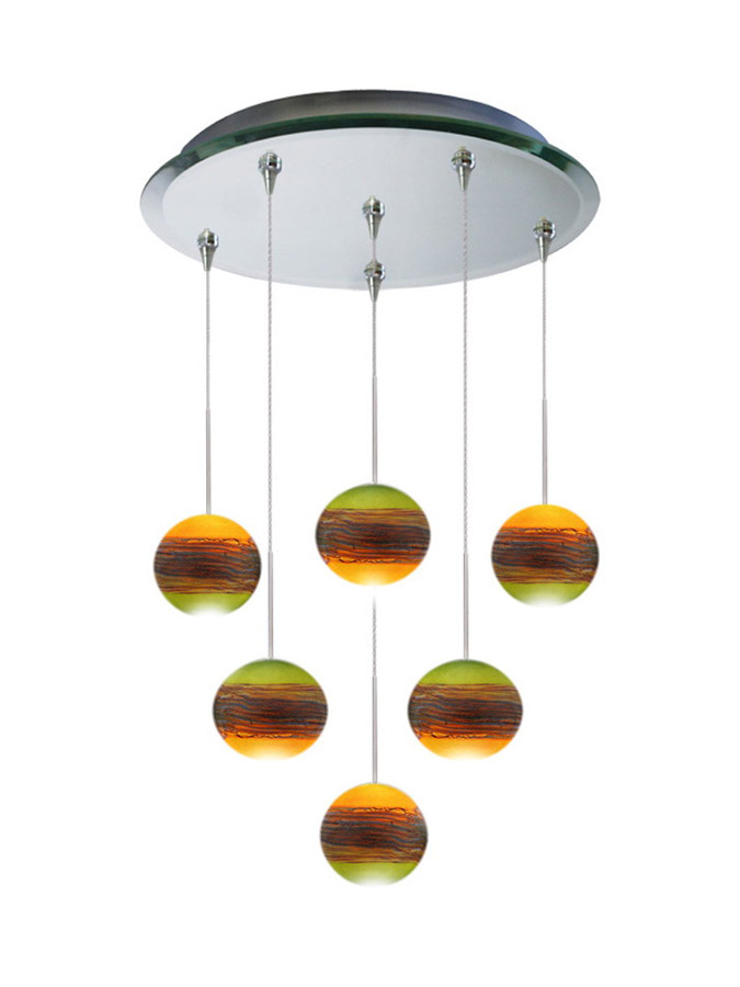 Six glass pendant chandelier multi-point canopy
