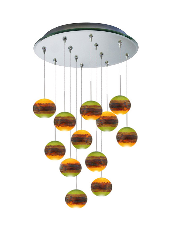 Twelve glass pendant chandelier multi-point canopy