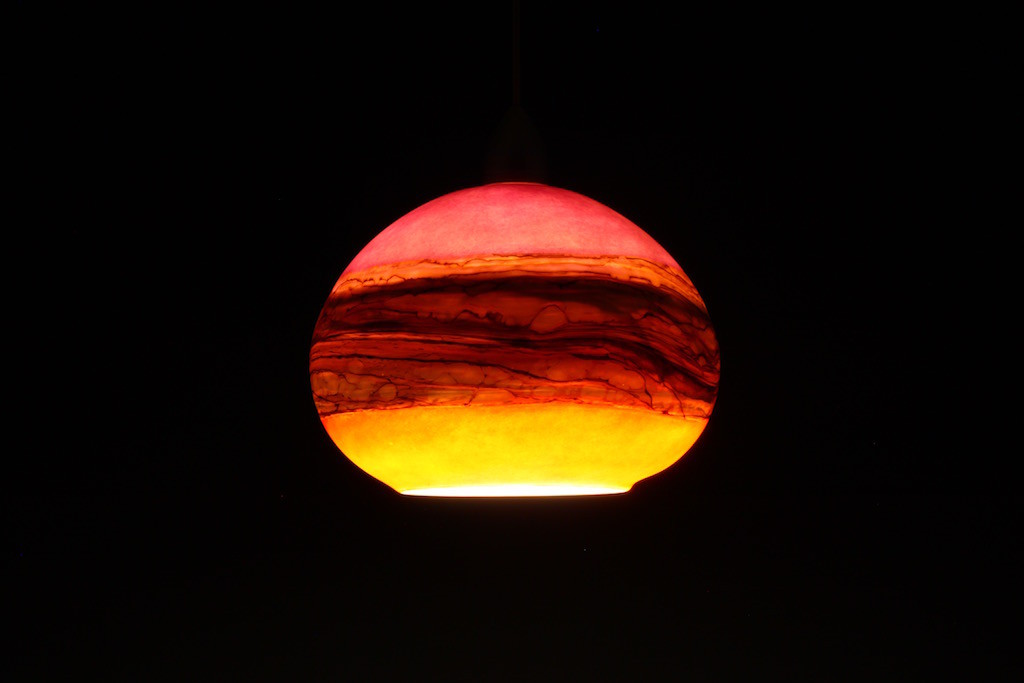 Ruby & Tangerine Round Strata Pendant (On in dark room)