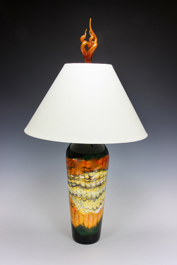 Black Opal with Tangerine table lamp with tangerine flame finial