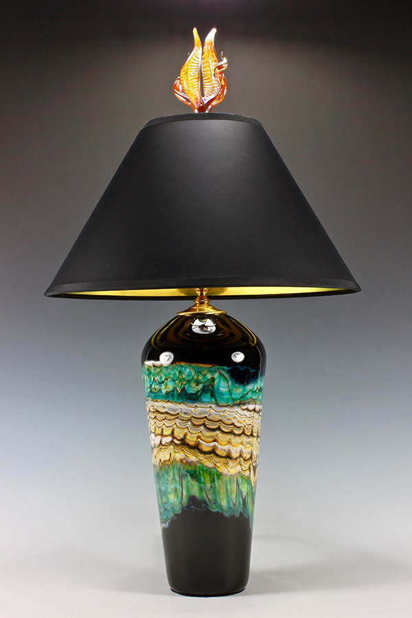 Opal series black and turquoise glass table lamp with silver tulip and tendril finial