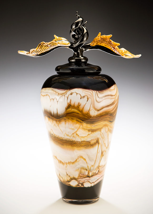 Black Strata blown glass urn with lid and sculpted finial