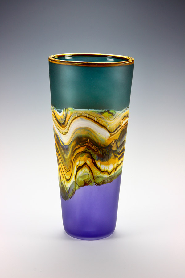 Translucent Strata series blown glass vase in sage and amethyst colors