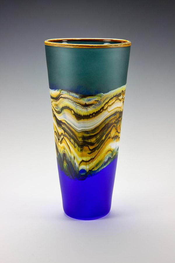 Translucent Strata series glass vase in sage and cobalt colors