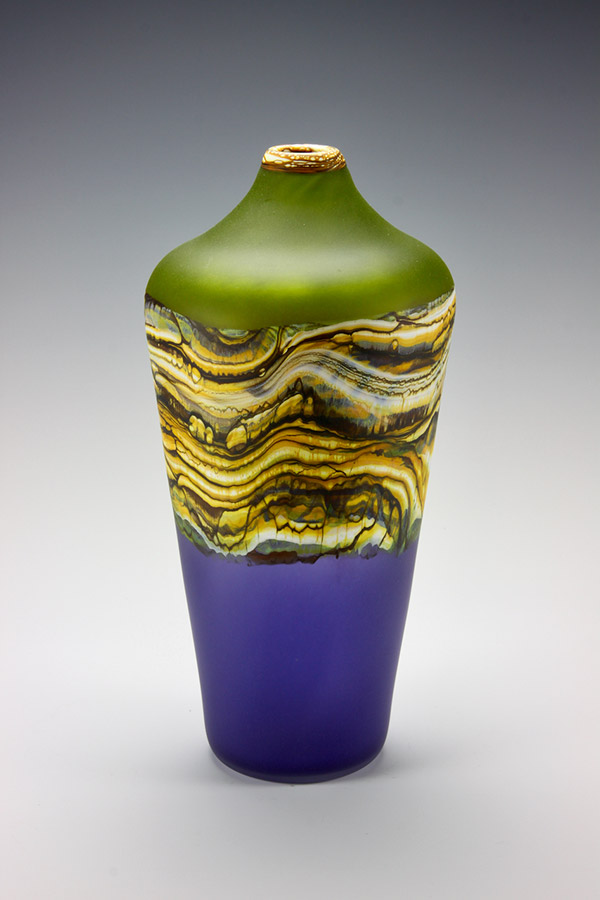 Translucent Strata series handblown frosted glass vase in lime green and amethyst colors