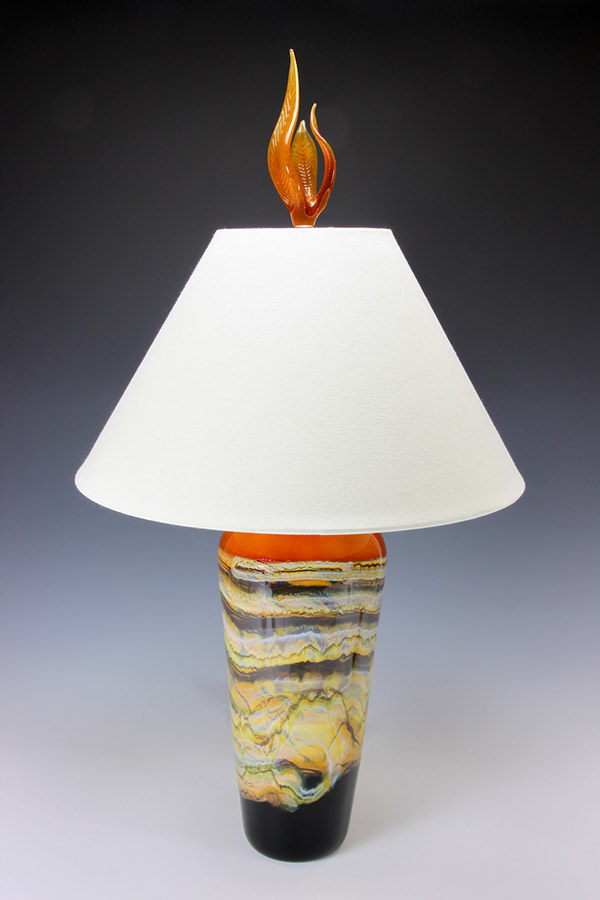 Hand blown glass table lamp tangerine with gold foil lined black lampshade