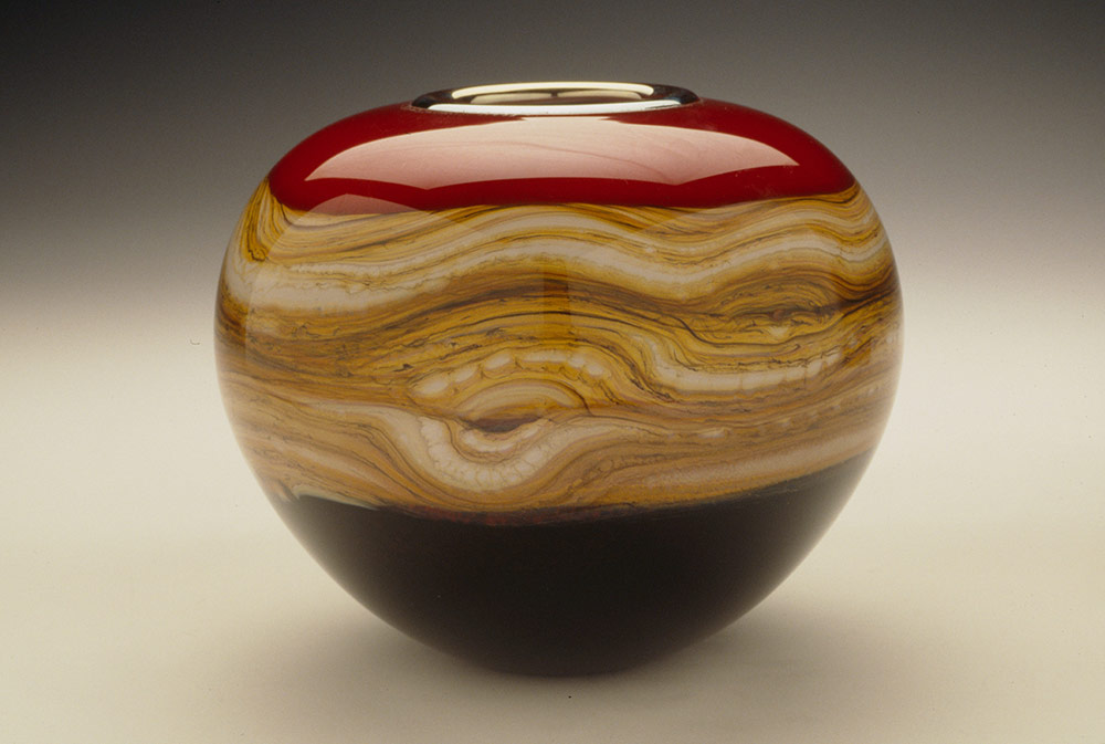 Red Strata blown glass sphere vessel