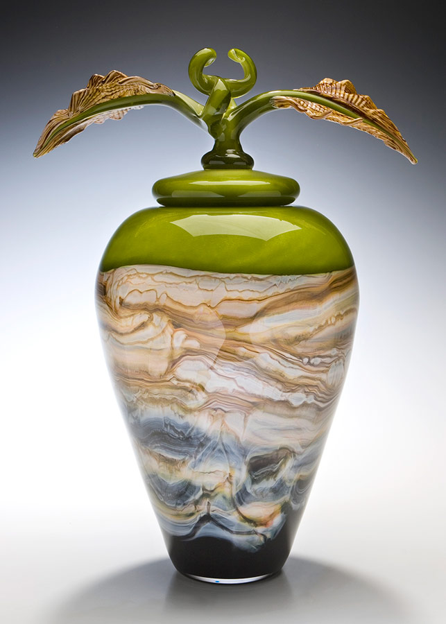 Lime glass covered vessel with lid and sculpted glass finial