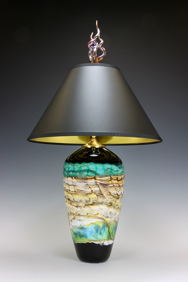Opal series handblown glass table lamp, black and turquoise with silver flame final