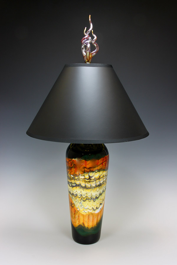 Hand blown glass table lamp opal tangerine with gold foil lined black lampshade