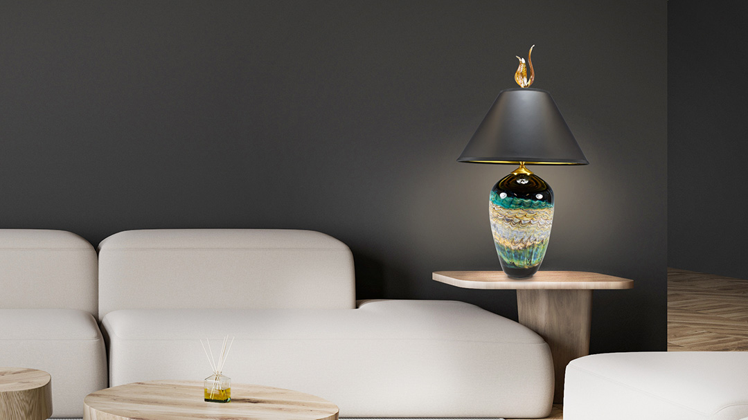 Hand blown glass table lamp in living room
