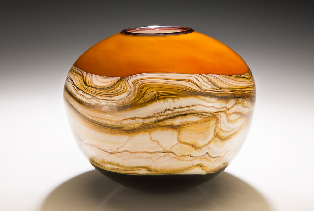Tangerine Strata blown glass sphere vessel