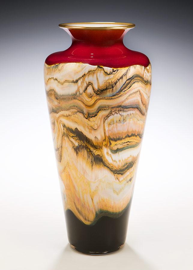Ruby hand blown glass Strata vase
