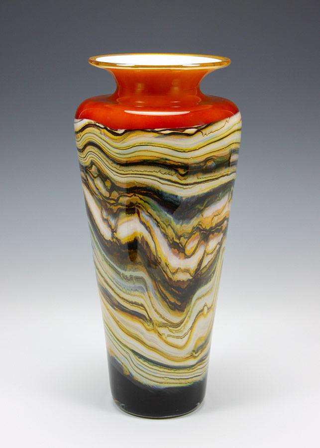 Tangerine Strata glass vase