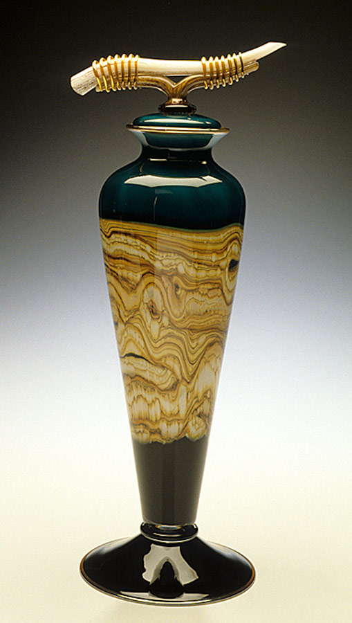 Hand blown glass vessel sage color Strata series