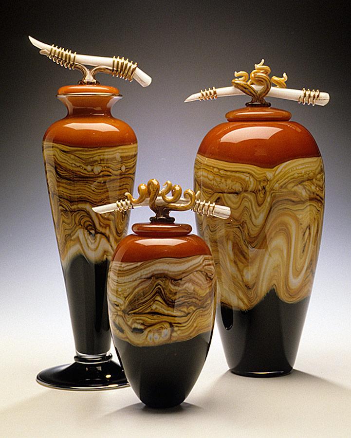 Strata Series hand blown glass vessels in tangerine by Gartner Blade Glass