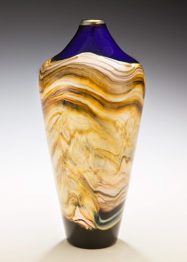 Blown glass vase amethyst color Strata series