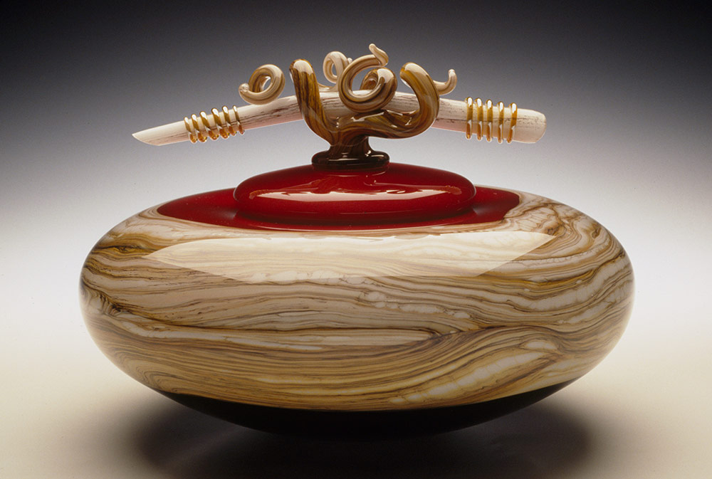 Ruby glass bowl with lid and sculpted glass finial