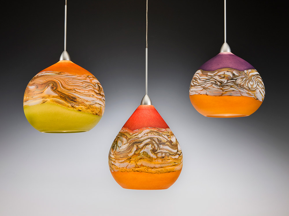 Hand blown art glass pendant lights