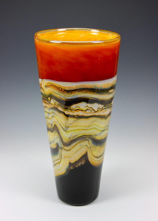 Tangerine Strata glass cone vase