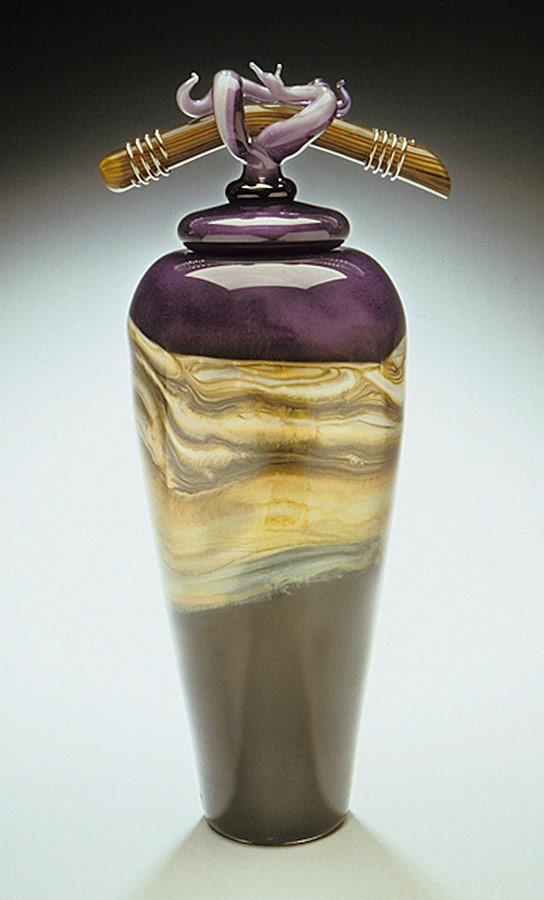 Amethyst Strata handblown glass vessel with bone finial lid