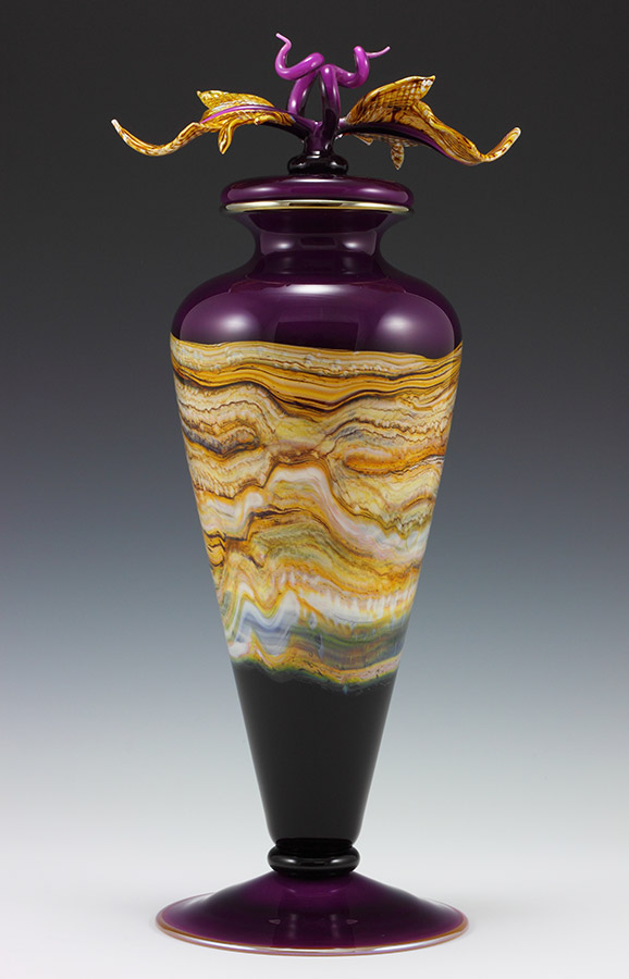 Amethyst glass tall vessel with lid and sculpted glass finial