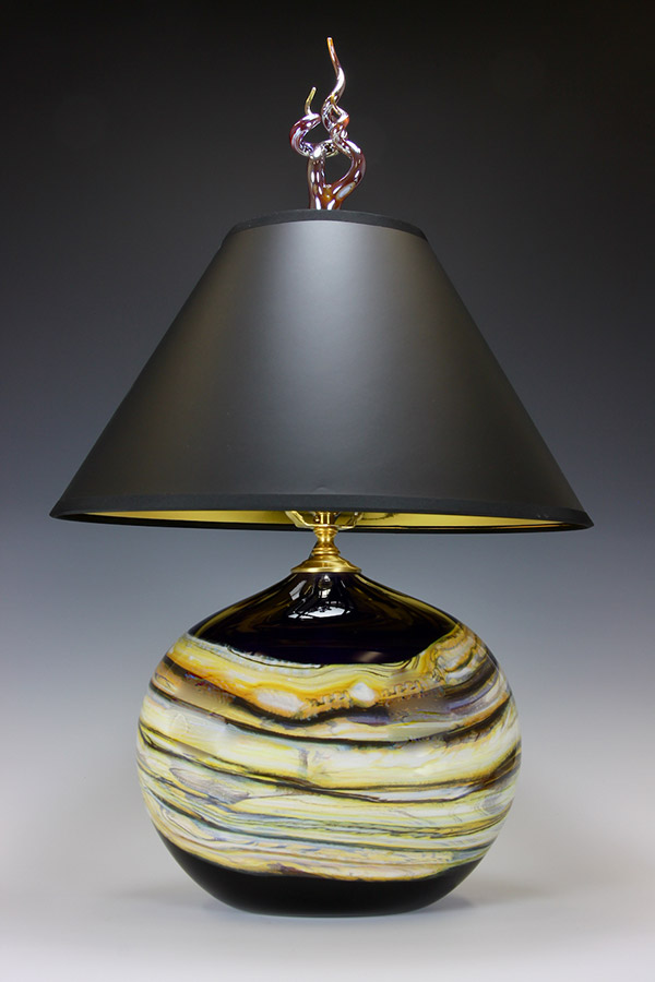 Oval glass table lamp amethyst with gold foil black lampshade and silver flame finial