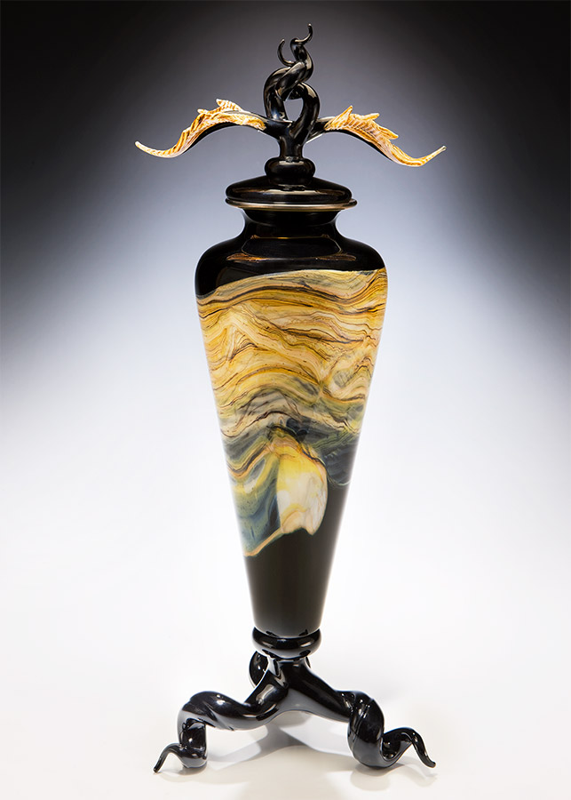 Handmade art glass vessel black color with sculpted lid