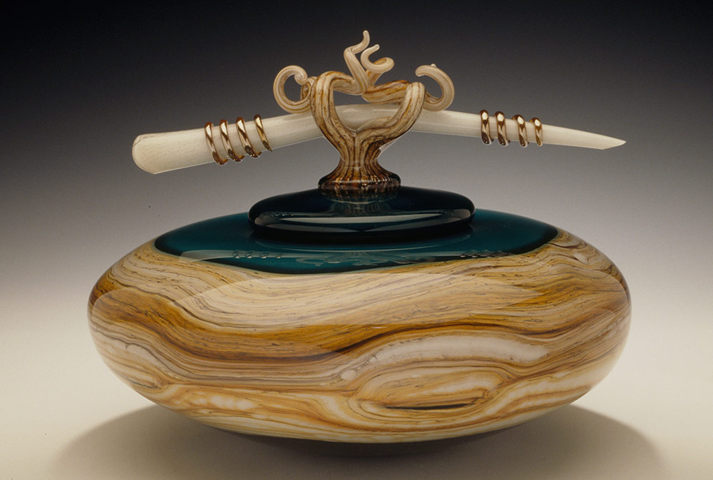 Sage Strata covered bowl with bone finial