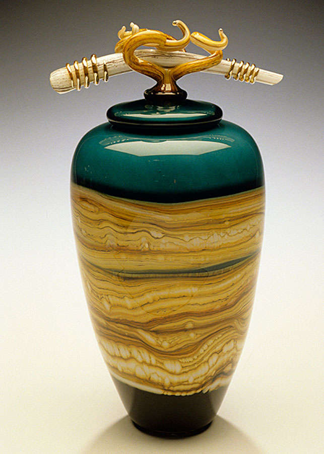 Sage Strata covered glass vessel with bone finial
