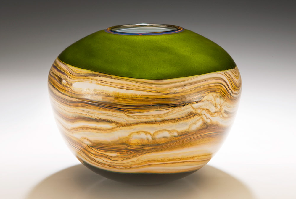 Hand blown glass vessel lime Strata sphere shape