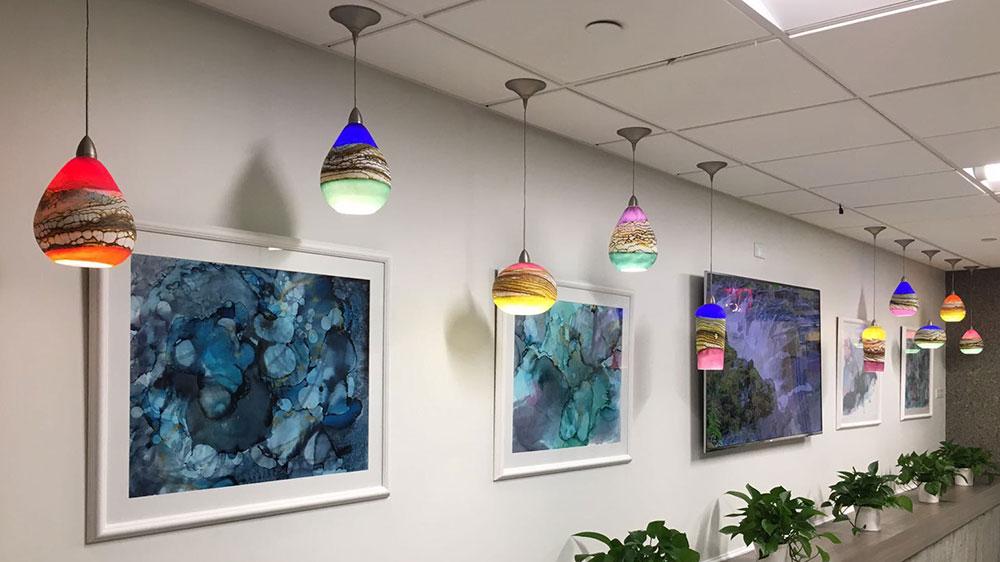 Strata glass pendant light installation in NYC