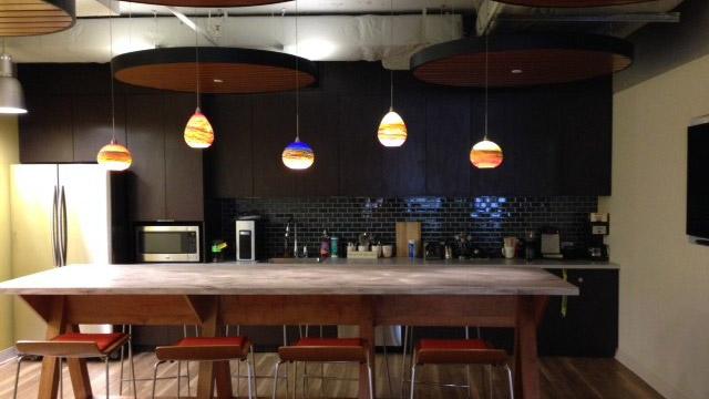 Strata glass pendants in kitchen interior