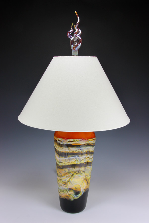 Hand blown glass table lamp tangerine with white shade and silver flame finial