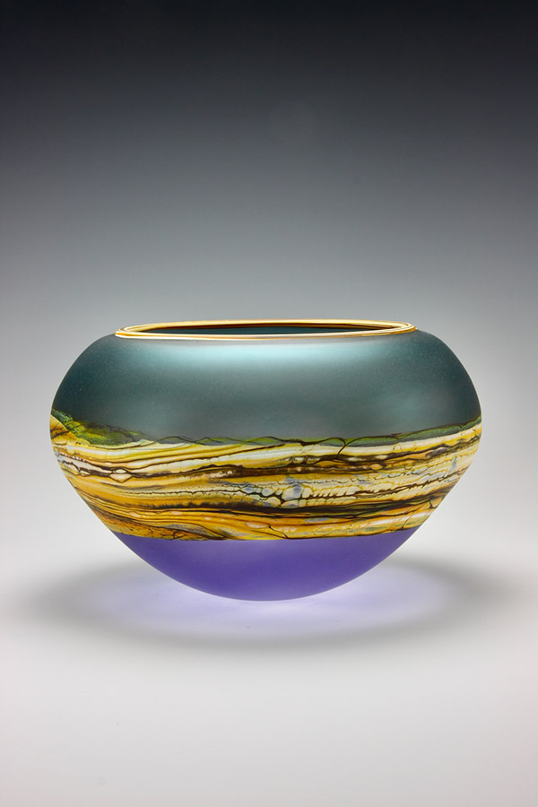 Translucent Strata series handblown frosted glass bowl in sage green and amethyst colors