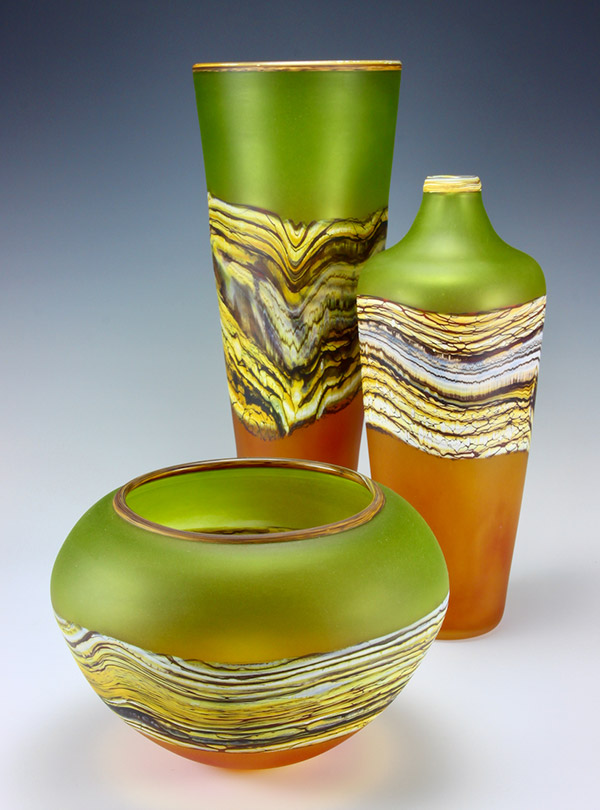 Translucent Strata Series handblown frosted glass vessels in lime and tangerine colors