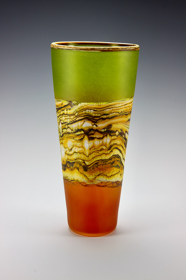 Translucent Strata series handblown frosted glass vase in lime green and tangerine colors