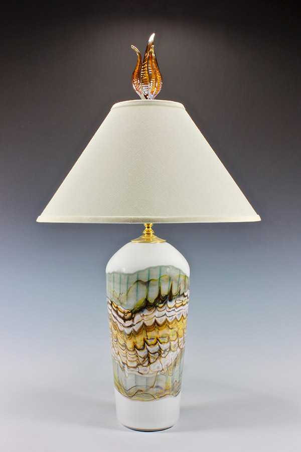 Opal series white and sage blown glass table lamp with white shade and silver tulip final
