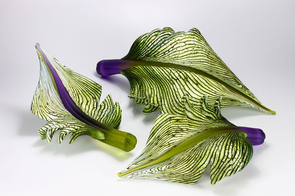Green Arbor leaf group hand sculpted glass sculptures