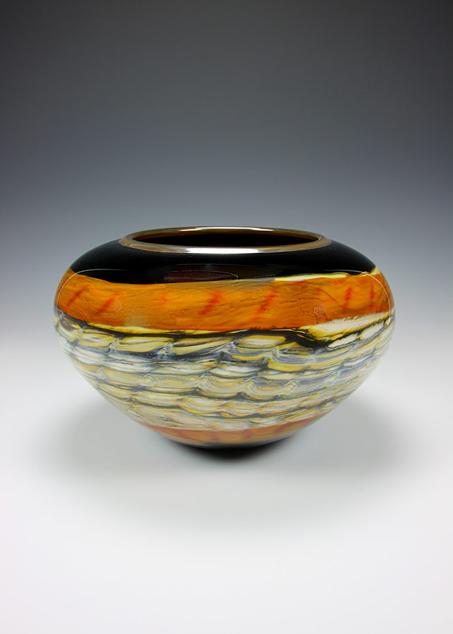 Hand blown glass bowl black opal and tangerine from the black opal series