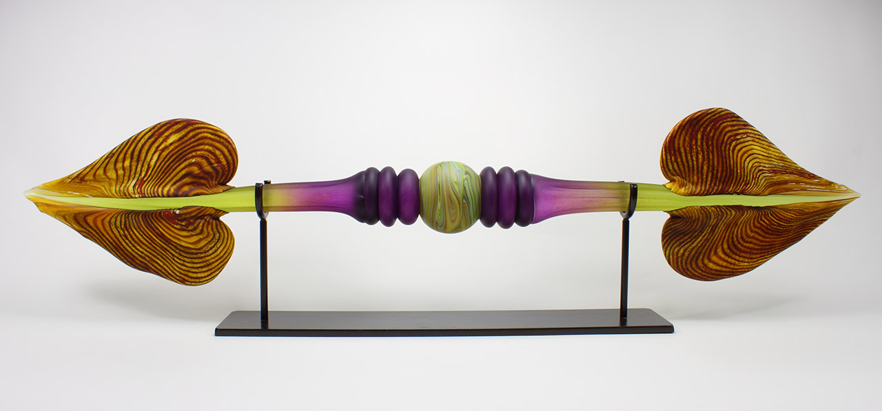 Austral hand made glass sculpture in amethyst & lime colors with hand forged steel base