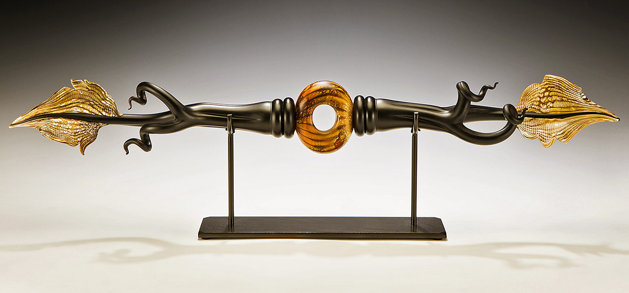 Ebony Branch glass sculpture with hand forged steel base